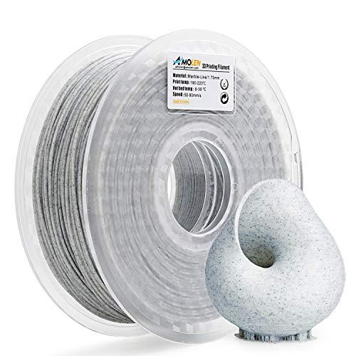 AMOLEN PLA Filamento Impresora 3D 1.75mm Mármol 1KG,+/- 0.03mm Materiales de impresión 3D de filamento, incluye Seda de Muestra y Filamento de Bronce.