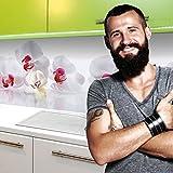 StickerProfis Küchenrückwand Selbstklebend Pro ORCHIDEEN Ensemble 60 x 220cm DIY - Do It Yourself PVC Spritzschutz