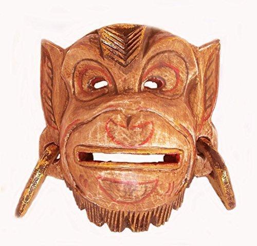 Double Duck Holz Affe Wand Maske Von Hanuman Hindu God Seite Geschnitzt In Bali Fairer Handel Neu - Hellbraun, 21 cm Altura x 18 cm Ancho (Schwarzer Gottes Affe)