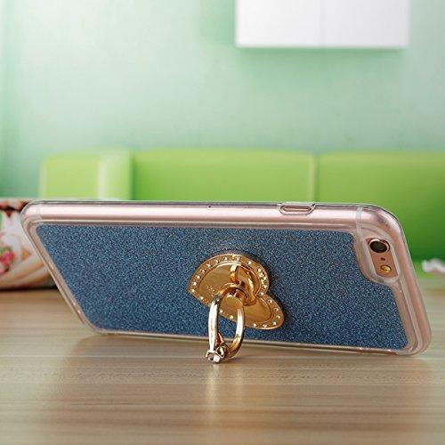 """Etsue Glitter Silikon Schutzhülle für iPhone 7 4.7"""" 2016 TPU Case mit Metall Ring Ständer, Bling Glitter TPU Bumper Case Sparkles Glänzend Glitzer Silikon Crystal Case Soft Rückseite Cover Shinning Ba Glitter mit Ständer,Blau"""