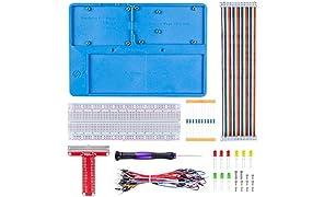 SUNFOUNDER RAB Holder Breadboard Kit with 830 Points solderless Circuit Board for Arduino R3, Mega 2560 & Raspberry Pi 3B+, 3 Model B, 2 Model B and 1 Model B+ (MEHRWEG)