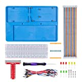 SunFounder RAB 5 in 1 Breadboard Holder Base Plate Circuit Board Screws for Arduino Uno R3 Mega 2560, Raspberry Pi 3 Model B,2 Model B and 1 Model B+ 400 800 Points Breadboard Jumper Dupont Wires …