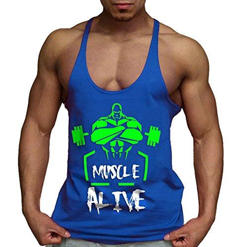 Alivebody Canotta Palestra Uomo Bodybuilding Senza Maniche Stringer Veste Cotone Blu S