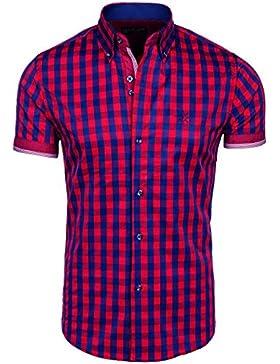 BOLF – Camicia casual a quadri – Manica corta – Uomo – Motivo – 2B2