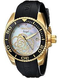 Invicta 0489 - Reloj de cuarzo para mujer, con correa de plástico, color negro