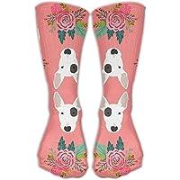 Cool Crazy Bull Terrier Floral Flowers Bull Pattern Novelty Funny Cotton Crew Dress Socks