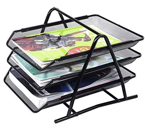 Techsun Office Stationery 3 Tier File Rack, Document, File, Paper, Letter, Office Desktop Notepad Holder Storage Tray Stand