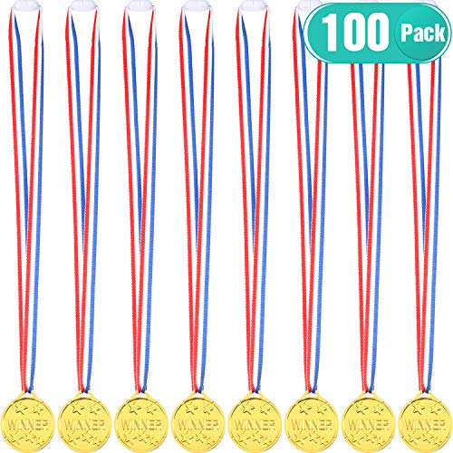 100 Piezas de Medallas de Ganador de Plástico Dorado Medalla de Premio...