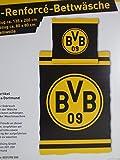 BVB 09 Borussia Dortmund Bettwäsche, 1 x Kissenbezug 80 x 80 cm und 1 x Bettbezug 135 x 200 cm, 100 % Baumwolle mit Reißverschluss