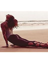 deportes de las mujeres europeas y americanas casuales pantalones de yoga polainas irregulares , black , l