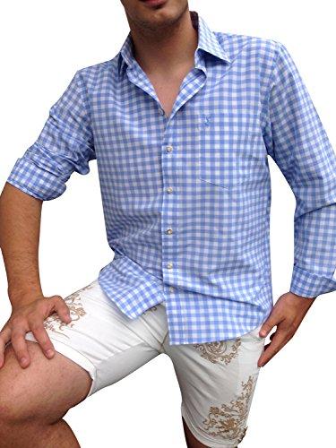 Hemden Herren Trachtenhemden Blau Weiß Karo XXL Baumwollmischung