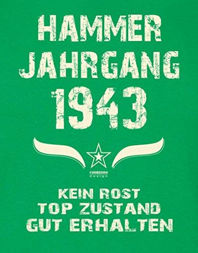 Geburtstagsgeschenk T-Shirt Herren Geschenk zum 74 .Geburtstag Hammer Jahrgang 1943 - auch in Übergrößen - Freizeitlook Männer Papa Farbe: hellgrün Hellgrün