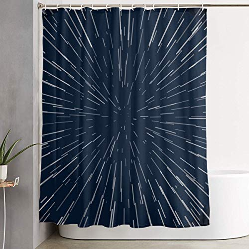 LINGJIE Duschvorhang Abstract Warp Stars Zoom Blue Galaxy War 60 X 72 Inch Bath Curtain Waterproof Polyester Fabric Bathroom Shower Curtain Decor Set with Hook (Wars Duschvorhang Stars)