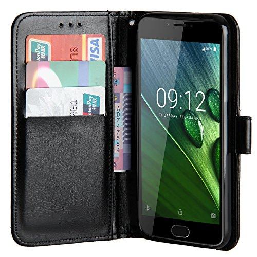 Raiphy Leder Brieftasche Hülle für Acer Liquid Z6 Plus (5.5