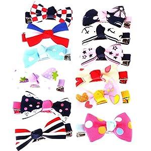 MagiDeal 12 Stück Haarschleifen – Haarclips / Haarspangen, Band geriffelt auf Krokodilspange / Alligatorspange, für Babies, Mädchen oder junge Frauen