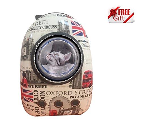 Ducomi Lightyear - Zaino Rigido con Oblò per Gatti e Cani - Massimo Confort e Stabilità Durante Passeggiate e Trasporti in Aereo - 44 x 30 x 25 cm - Simpatico Gadget in Regalo (London)