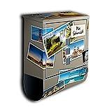 Briefkasten mit Deko Motiv: weltreise Briefmarken BK601 , Edelstahl Designer Postkasten mit Zeitungsrolle, individuelles Namensschild, Mailbox, Designbriefkasten, Postbox