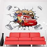 Kibi Stickers Muraux Cars 3D Disney Wall Decal Enfants Chambre Bébé Décoration Autocollants Muraux Cars Disney stickers Muraux Personnalisé Stickers Mural 3d Stickers Muraux Fenêtre Amovible