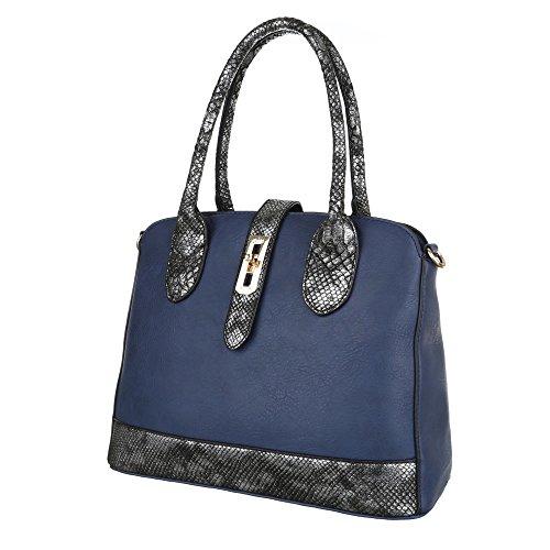 Schultertasche Tragetasche Handtasche Creme Blau