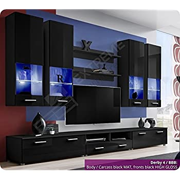 Brilliant Living Room Furniture Set   High Gloss Fronts   Display Hung On  Wall Unit   TV Cabinet   2 Shelves   LEDu0027s Included (Derby 4 / BBB) Part 51