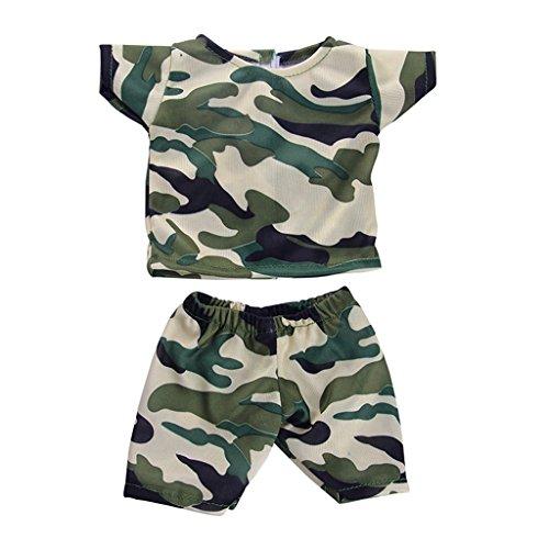 MagiDeal Camouflage Kurzarm T-Shirt & Kurze Hosen Kleidung Set, Puppen Outfit für 18 '' American Girl Puppen (18-zoll-puppe T-shirt)