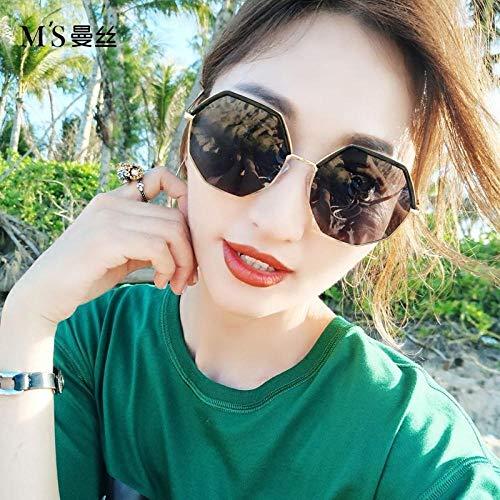 Polygonal Sonnenbrille weiblichen koreanischen Version der Retro-Retro-Sonnenbrille Mode Brille rundes Gesicht Goldrahmen grau Film (HD polarisierte Version), Goldrahmen grau Stück 5135 _ (senden zar