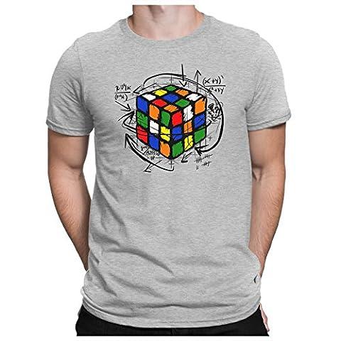 PAPAYANA - RUBIK-CUBE - Herren Fun T-Shirt - Big Comic Sci-Fi Science Bang Nerd Tbbt - XL Grau Meliert