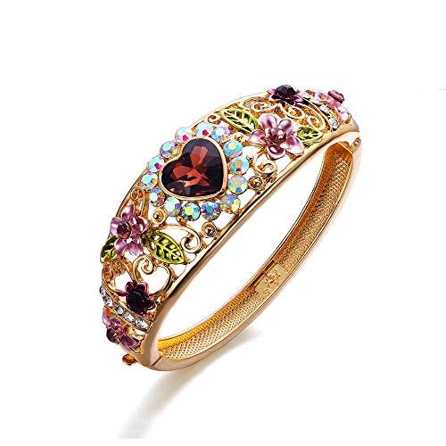 EVER FAITH Damen Armreif Österreichischen Kristall Emaille Hochzeit Blume Blatt mit Liebe Herz Armband Lila Gold-Ton