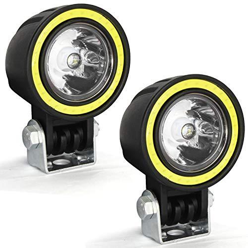 Zusatzscheinwerfer Motorrad LED,Scheinwerfer Motorrad Halo Ring,Nebelscheinwerfer Motorrad Schwarz,LED Arbeitsscheinwerfer Rund Klein,Spotlicht Lampe 12V 24V 10W 1800LM Cree 6000K(2 Stück)