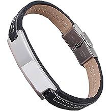 Personalizable pulsera para hombre de cuero negro, grabado gratuito - con nombres, cumpleaños etc 19 cm