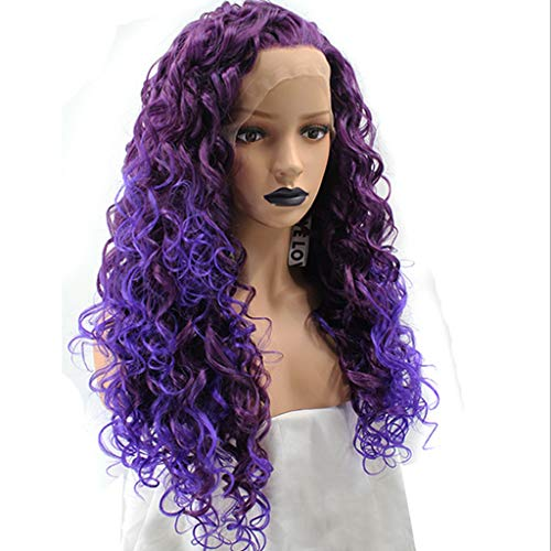 Bandeau De Perruque Femmes Petit Pain Violet Dégradé Long Cheveux Bouclés