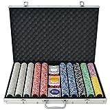 Festnight Set Poker avec 1000 Jetons Dans un Coffre en Aluminium