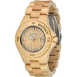 Madison Unisex-Armbanduhr Holzuhr Analog Quarz verschiedene Materialien G4542F