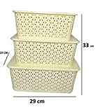 #10: Basket With Cover Combo / Basket With Lid / Basket Set With Top Cover / Basket Set of 3 Piece (Ivory)