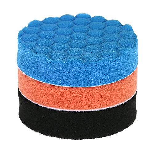 Preisvergleich Produktbild KKmoon 3PCS 125mm 5 Inch Polierschwamm Pads Wolle Polierpad Set für Poliermaschine Auto Möbel Reinigung Sauber Machen Polieren Schleifen Wachsen Orange Blau Schwarz