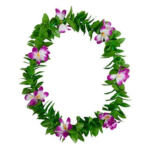 Hawaiian-Green-Leaf-Lei-Purple-Flower-Garland-Fancy-Dress-Accessory-Summer-Beach-Party