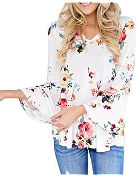 OverDose talla extra blusas manga larga para mujer mangas brotes florales XS-XXXXL