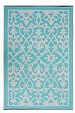 Fab Hab - Venice - Creme & Türkis - Teppich/ Matte für den Innen- und Außenbereich (90 cm x 150 cm)