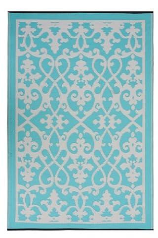 Fab Hab Intérieur / Tapis extérieur Venise - Crème & turquoise (90cm x 150cm)