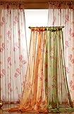 heimtexland Gardine Schal aus Rosen Voile transparent grün HxB 230x145cm Vorhang mit Band und Köpfchen - weichfliesende Qualität für einen sehr schönen Fall .auspacken, aufhängen, fertig! Typ260