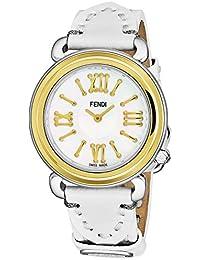 Fendi Selleria Femme 35mm Bracelet Cuir Blanc Quartz Montre F8011345H0.PS04 c9e1a5f63da