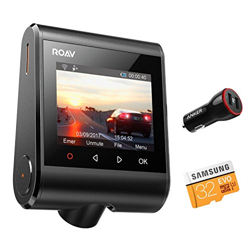 "Dashcam Anker ROAV GPS C1 Pro, Wifi Auto Kamera mit 2K Aufnahmen, 2.4"" LCD Display, 1080P Full HD, 145° Weitwinkel, G-Sensor, WDR, Nacht Modus, inkl. 32 G SD Karte und Kfz Ladegerät (Sd-karte 2 Pk)"