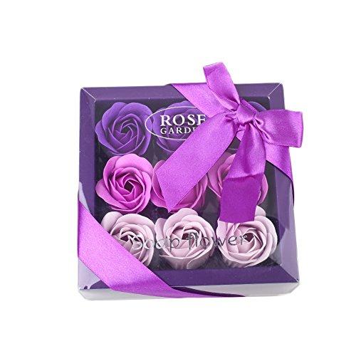Kicode Scented Bath 9 Flora Soap-Rosen-Blumen Pflanze Essential Oil Soap Geschenk für Geburtstag Valentinstag (Set Rose Bath Scented)