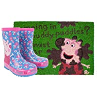 Peppa Pig Muddy Puddles Welies and Door Mat Gift Set Bundle