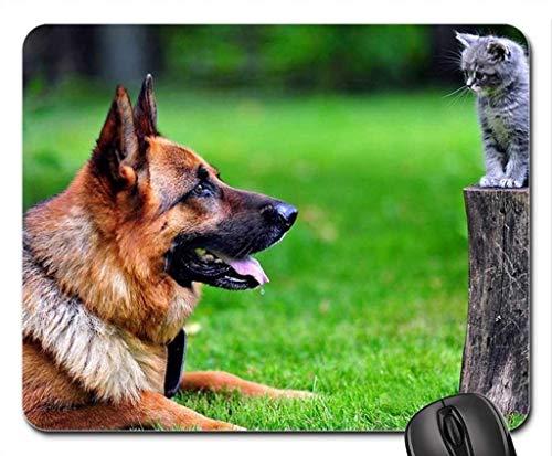 Yanteng Cojín de ratón del Juego del Borde de la Costura de la precisión, Cojín de ratón del Gatito del Pastor alemán con el Gatito, Mousepad (Cojín de ratón de los Perros)