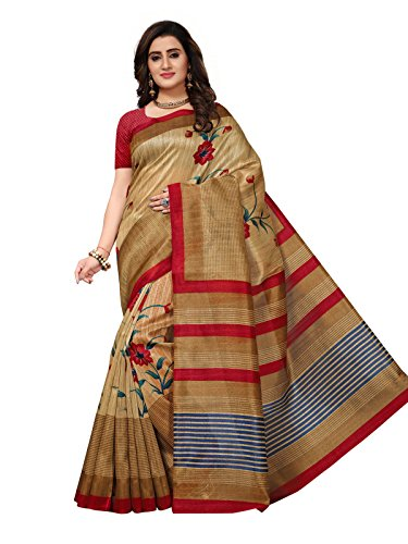 Kanchnar Women's Beige Color Bhagalpuri Silk Printed Saree-757S4