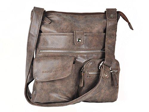 Bag Street Atlanta Sac à main avec bandoulière, plusieurs compartiments, marron