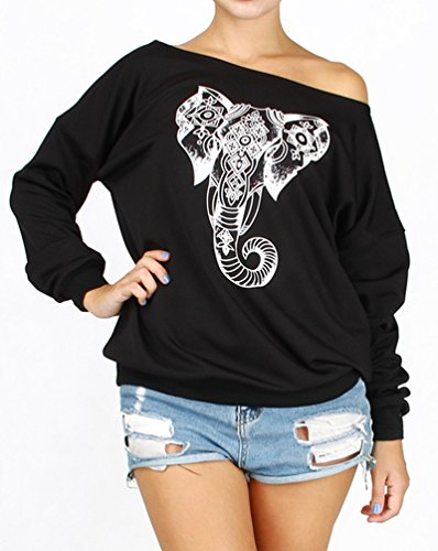YICHUN Femme Tops T-Shirts Tee-Shirt Epaule Nu Léger Sweat-Shirts Sweaters Pulls Blouse Pull-Overs Jumpers Eléphant Noir 4#