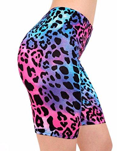 Fast Fashion - Imprimé Élastique Gym Cyclisme Short - Femmes Néon Léopard