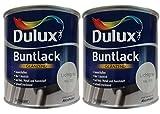 2 x 500 ml Dulux Buntlack Glänzend für innen und außen 1 Liter Farbton Wählbar, Farbe:Ral 7035 Lichtgrau